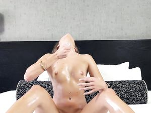 Tight Oiled Teen Slut Takes His Big Dick With Ease