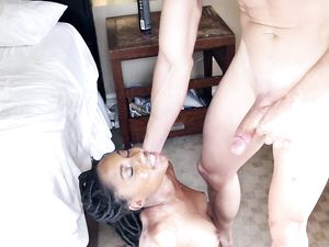 Gorgeous Black Chick Fucked Furiously By White Cock