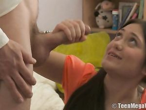Teenage Girl Is Fascinated By His Big Cock