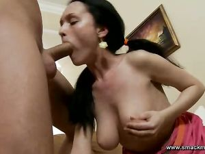 Pigtailed Teen Temptress Sucks Big Cock Passionately