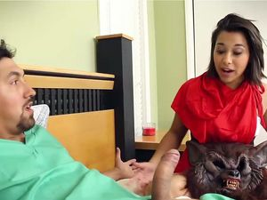 Costume Fucking With A Petite Teen In His Bed