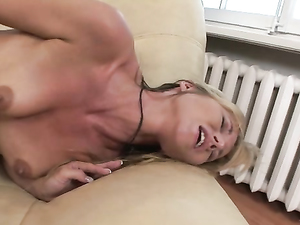 Trampy Blonde Stretched By Huge Strapon Dildo Sex